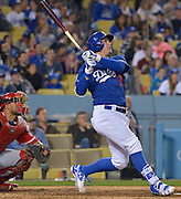 Los Angeles Dodgers center fielder Joc Pederson #31 follow through on a deep fly ball. The Los Angele Dodgers played the Los Angeles Angels of Anaheim in the 2nd game of the pre-season freeway series at Dodger Stadium in Los Angeles, CA.  April 1, 2016.  (Photo by John McCoy/Los Angeles News Group)