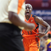 UNCASVILLE, CONNECTICUT- JULY 15:  Chiney Ogwumike #13 of the Connecticut Sun reacts to the referee after fouling out during the Los Angeles Sparks Vs Connecticut Sun, WNBA regular season game at Mohegan Sun Arena on July 15, 2016 in Uncasville, Connecticut. (Photo by Tim Clayton/Corbis via Getty Images)