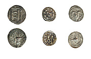 Simon Bar-Kokhba coins 132-135 CE On White Background