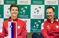 Hubert Hurkacz and Radoslaw Szymanik of Poland  at press conference after  the Day 2 of Davis Cup 2018 Europe/Africa zone Group II between Slovenia and Poland, on February 4, 2018 in Arena Lukna, Maribor, Slovenia. Photo by Vid Ponikvar / Sportida