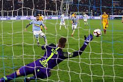 """Foto LaPresse/Filippo Rubin<br /> 16/03/2019 Ferrara (Italia)<br /> Sport Calcio<br /> Spal - Roma - Campionato di calcio Serie A 2018/2019 - Stadio """"Paolo Mazza""""<br /> Nella foto: GOAL SPAL ANDREA PETAGNA (SPAL)<br /> <br /> Photo LaPresse/Filippo Rubin<br /> March 16, 2019 Ferrara (Italy)<br /> Sport Soccer<br /> Spal vs Roma - Italian Football Championship League A 2018/2019 - """"Paolo Mazza"""" Stadium <br /> In the pic: GOAL SPAL ANDREA PETAGNA (SPAL)"""