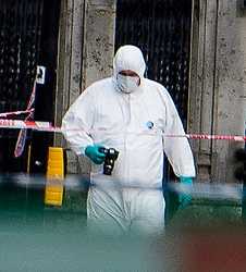 © Licensed to London News Pictures. 22/03/2017. London, UK. Police forensics examine a car (not pictured) involved in the incident, at the scene of suspected terrorist attack near Houses of Parliament in Westminster, London. Photo credit: Ben Cawthra/LNP