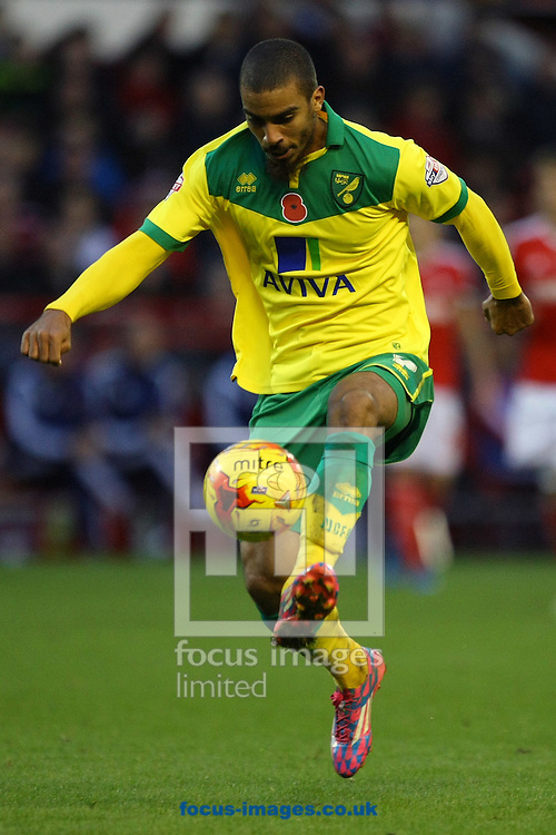 Lewis Grabban of Norwich in action during the Sky Bet Championship match at the City Ground, Nottingham<br /> Picture by Paul Chesterton/Focus Images Ltd +44 7904 640267<br /> 08/11/2014