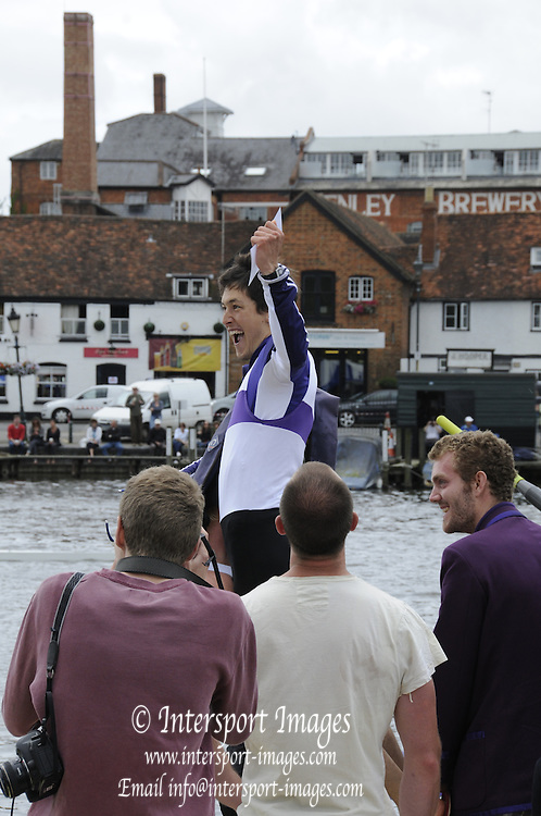 Henley, GREAT BRITAIN,  2012 Henley Royal Regatta. The Cox, of the University of London crew, celebrates, and is lifted aloft, after they win, the Prince Albert Challenge Cup. Sunday  13:10:30  01/07/2012 [Mandatory Credit, Intersport-images] ..Rowing Courses, Henley Reach, Henley, ENGLAND . HRR.