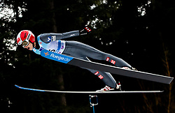 Eva Pinkelnig of Austria soaring through the air during Trial Round at Day 1 of World Cup Ski Jumping Ladies Ljubno 2019, on February 8, 2019 in Ljubno ob Savinji, Slovenia. Photo by Matic Ritonja / Sportida