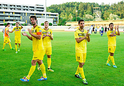 Janez Zavrl of Radomlje, Luka Vrhunc of Radomlje, Matic Seferovic of Radomlje, Tomaz Avbelj of Radomlje after the football match between NK Kalcer Radomlje and FC Luka Koper in Round 1 of Prva liga Telekom Slovenije 2014/15, on July 20, 2014 in Sportni park, Domzale, Slovenia. Photo by Vid Ponikvar / Sportida.com