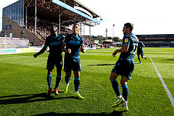 Jonson Clarke-Harris of Bristol Rovers celebrates with teammates after scoring a goal to make it 1-0 - Mandatory by-line: Robbie Stephenson/JMP - 14/09/2019 - FOOTBALL - Sincil Bank Stadium - Lincoln, England - Lincoln City v Bristol Rovers - Sky Bet League One