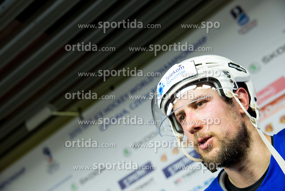 Mitja Robar of Slovenia in Mixed zone after the Ice Hockey match between Slovenia and Denmark at Day 11 in Group B of 2015 IIHF World Championship, on May 11, 2015 in CEZ Arena, Ostrava, Czech Republic. Photo by Vid Ponikvar / Sportida