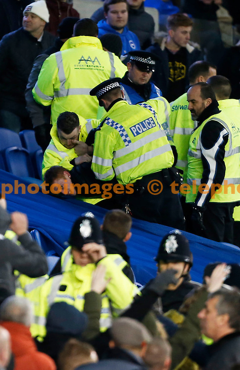 Police restrain a fan during the Sky Bet Championship match between Brighton and Hove Albion and Millwall at The Amex Stadium in Brighton. December 12, 2014<br /> James Boardman / TELEPHOTO IMAGES 07967642437