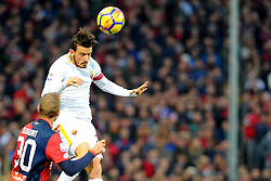 Italian Championship soccer 2017/2018 Genoa vs Roma. 26 Nov 2017 Pictured: Alessandro Florenzi AS Roma jumps for the ball during the italian championship match between Genoa CFC and AS Roma at Luigi Ferraris Stadium in Genoa, on November 26, 2017. Photo credit: Massimo Cebrelli / MEGA TheMegaAgency.com +1 888 505 6342