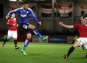 Oliver Banks scores during the The FA Cup match between FC United of Manchester and Chesterfield at Broadhurst Park, Manchester, United Kingdom on 9 November 2015. Photo by Pete Burns.