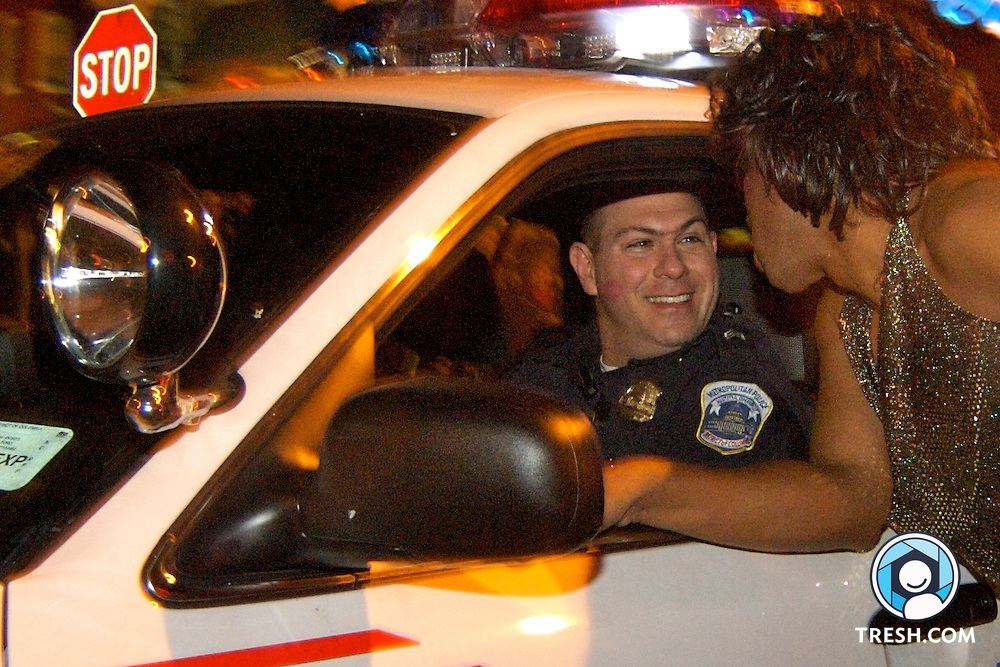 Sergeant Brett Parson, supervisor of the DC Metropolitan Police Gay and Lesbian Unit, at the 20th annual High Heel Race Tuesday night, October 24, 2006, held at 17th and Q streets, NW.