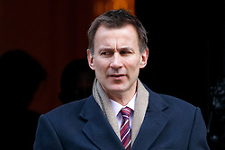 © Licensed to London News Pictures. 24/02/2016. London, UK. Health Secretary JEREMY HUNT leaving Downing Street to attend Prime Minister's Question Time in London on 24 February 2016. Photo credit: Tolga Akmen/LNP