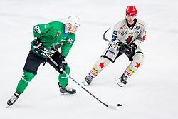 Luka Ulamec of HK SZ Olimpija and LukaBasic of HDD Jesenice during Ice Hockey match between HK SZ Olimpija Ljubljana and HDD Jesenice in Round #24 of Alps Hockey League, on December 22, 2018 in Hala Tivoli, Ljubljana, Slovenia. Photo by Ziga Zupan / Sportida