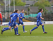 Lyall Murdoch celebrates after heading home St James' first goal - St James (blue) v NCR (white) North of Tay Cup (sponsored by Evening Telegraph) Cup Final at Dens Park <br /> <br />  - &copy; David Young - www.davidyoungphoto.co.uk - email: davidyoungphoto@gmail.com