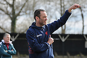 Dean Davenport giving out orders to his players during the FA Women's South East Divison One match between Crystal Palace LFC and Luton Ladies at the Crystal Palace National Sports Centre, Croydon, United Kingdom on 5 April 2015. Photo by Michael Hulf.