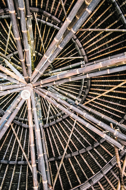 Black bamboo inside the bar structure