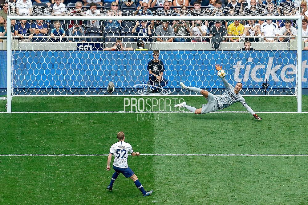 Tottenham Hotspur midfielder Oliver Skipp (52) misses his penalty, penalty shoot-out, during the Pre-Season Friendly match between Tottenham Hotspur and Inter Milan at Tottenham Hotspur Stadium, London, United Kingdom on 4 August 2019.