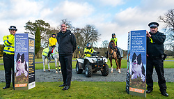 Pictured: Scottish Partnership Against Rural Crime (SPARC) initiative launch. The Scottish Partnership Against Rural Crime (SPARC) launches a new approach to tackling livestock attacks and trauma by dogs at Penicuik House, Penicuik Estate, Midlothian. Police Scotland, NFU Mutual, NFU Scotland, Scottish Land and Estates, Scottish Business Resilience Centre and the Scottish Government are members of Scottish Partnership Against Rural Crime (SPARC) working together to prevent crime and protect rural communities. Pictured: Detective Chief Superintendent John McKenzie, chairman of SPARC with Michele Lindsay, Community Sergeant, Constance Newbould and Sarah Chambers who ride on the estate with their horses Kai and Theon (white).  Sally Anderson / Edinburgh Elite media