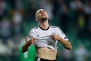 Legia's Michal Kucharczyk reacts after his missed shoot during the UEFA Europa League Group J football match between Legia Warsaw and Trabzonspor AS at Pepsi Arena Stadium in Warsaw on November 07, 2013.<br /> <br /> Poland, Warsaw, November 07, 2013<br /> <br /> Picture also available in RAW (NEF) or TIFF format on special request.<br /> <br /> For editorial use only. Any commercial or promotional use requires permission.<br /> <br /> Mandatory credit:<br /> Photo by &copy; Adam Nurkiewicz / Mediasport