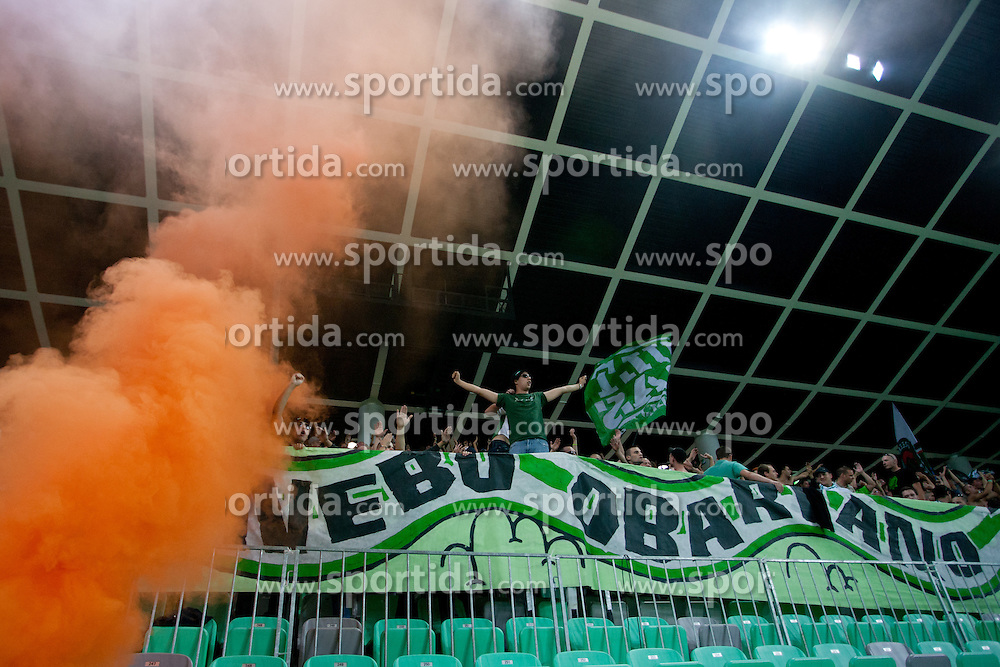 Green Dragons during football match between NK Olimpija and NK Maribor in 5th Round of Prva liga NZS 2012/13, on August 11, 2012 in SRC Stozice, Slovenia. (Photo by Matic Klansek Velej / Sportida.com)