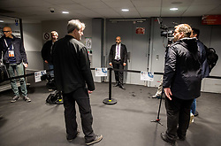 Security closed the door for journalists during practice session of Team Slovenia at the 2017 IIHF Men's World Championship, on May 8, 2017 in Accorhotels Arena in Paris, France. Photo by Vid Ponikvar / Sportida