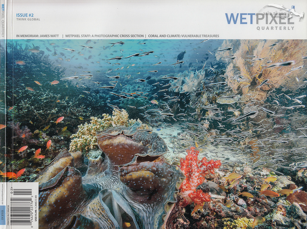 Wetpixel Quarterly Issue #2. Giant clam reefscape in Raja Ampat, Indonesia. Eric Cheng magazine covers.