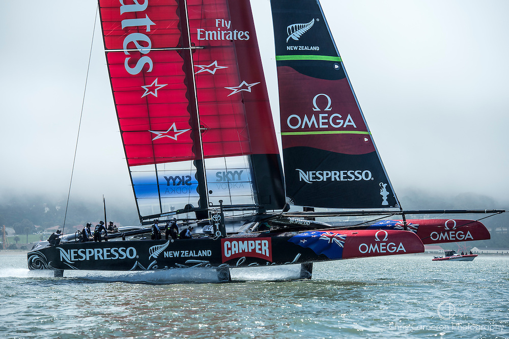 Emirates Team New Zealand NZL5 on sailing day three in San Francisco. 28/5/2013