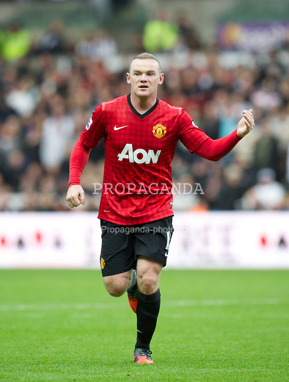 SWANSEA, WALES - Sunday, December 23, 2012: Manchester United's Wayne Rooney in action against Swansea City during the Premiership match at the Liberty Stadium. (Pic by David Rawcliffe/Propaganda)