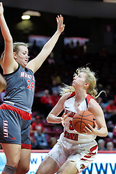 NORMAL, IL - December 16: Lexy Koudelka guarded by Abby Monis during a college women's basketball game between the ISU Redbirds and the Maryville Saints on December 16 2018 at Redbird Arena in Normal, IL. (Photo by Alan Look)
