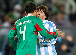 Rafael Marquez (4) of Mexico and Lionel Messi of Argentina after  the 2010 FIFA World Cup South Africa Round of Sixteen match between Argentina and Mexico at Soccer City Stadium on June 27, 2010 in Johannesburg, South Africa. (Photo by Vid Ponikvar / Sportida)