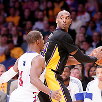 31 October 2014: Los Angeles Lakers guard Kobe Bryant (24) looks to pass the ball over Los Angeles Clippers guard Chris Paul (3) during the Los Angeles Clippers 118-111 victory over the Los Angeles Lakers, at the Staples Center, Los Angeles, California, USA.