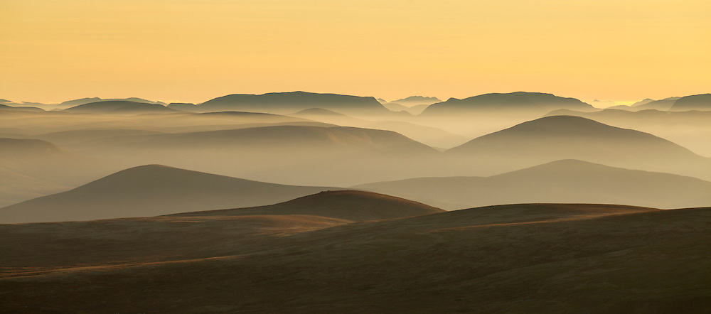 Recession of hills at sunset from Braeriach, Cairngorms Natuional Park, Scotland
