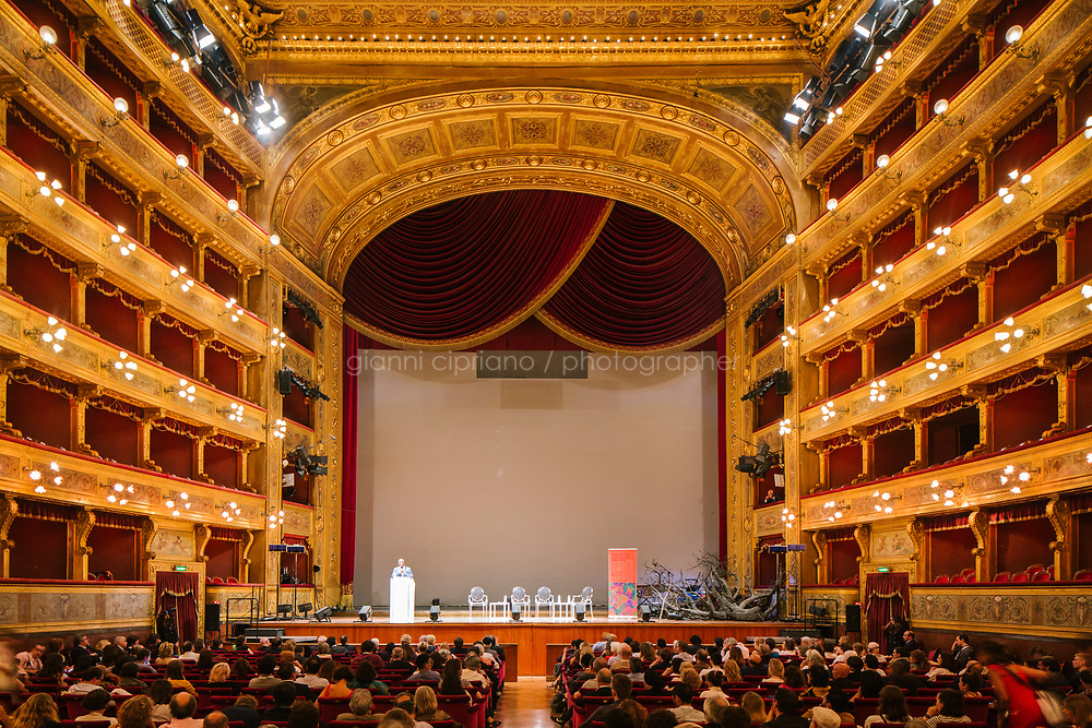 PALERMO, ITALY - 15 JUNE 2018: The Manifesta 12 Borderless Conference at Teatro Massimo in Palermo, Italy, on June 15th 2018.<br /> <br /> Manifesta is the European Nomadic Biennial, held in a different host city every two years. It is a major international art event, attracting visitors from all over the world. Manifesta was founded in Amsterdam in the early 1990s as a European biennial of contemporary art striving to enhance artistic and cultural exchanges after the end of Cold War. In the next decade, Manifesta will focus on evolving from an art exhibition into an interdisciplinary platform for social change, introducing holistic urban research and legacy-oriented programming as the core of its model.<br /> Manifesta is still run by its original founder, Dutch historian Hedwig Fijen, and managed by a permanent team of international specialists.<br /> <br /> The City of Palermo was important for Manifesta&rsquo;s selection board for its representation of two important themes that identify contemporary Europe: migration and climate change and how these issues impact our cities.