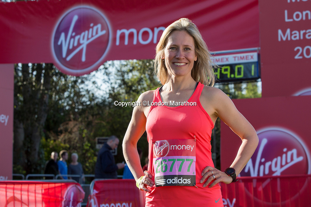 Sophie Raworth in the celebrity area ahead of the Gren Start at The Virgin Money London Marathon 2014 on Sundy 13 April 2014<br /> Photo: Neil Turner/Virgin Money London Marathon<br /> media@london-marathon.co.uk