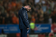 30th August 2019; Dens Park, Dundee, Scotland; Scottish Championship, Dundee Football Club versus Dundee United; Dundee manager James McPake looks dejected