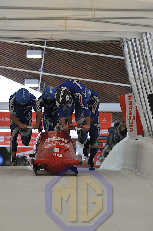 16 December 2007:  The Italy 1 four-man bobsled driven by Simone Bertazzo with Cristian Lagrassa, Samuele Romanini and brakeman Sergio Riva, compete at the FIBT World Cup 4-Man bobsled competition on December 16, 2007 at the Olympic Sports Complex in Lake Placid, NY.  The Russia 2 sled driven by Alexandr Zubkov won the race with a time of 1:48.79.