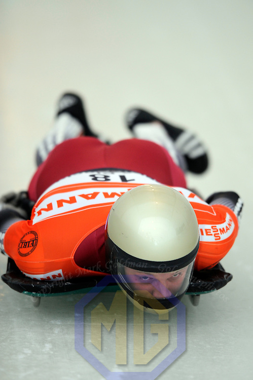 14 December 2007:  Tomass Dukurs of Latvia compete at the FIBT World Cup Men's skeleton competition on December 14, 2007 at the Olympic Sports Complex in Lake Placid, NY.  The race was won by Eric Bernotas of the United States.