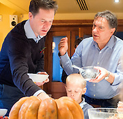 © Licensed to London News Pictures. 03/11/2014. Oxford, UK. NICK CLEGG (L) and RAYMOND BLANC (R) talk to local school children over breakfast.  To celebrate National School Meals Week (3-7 November), the Deputy Prime Minister, Nick Clegg, joins school children at Brasserie Blanc in Oxford to get some top cooking tips from Raymond Blanc. The visit is part of a larger national effort to raise awareness of and enhance children's relationship with food. The Deputy Prime Minister has called on celebrity chefs to lead the way by joining forces with school cooks to promote the great school lunch. School cooks up and down the country will be taking their skills out of the school kitchen to showcase to parents and pupils the variety and quality of food now being served in schools. National School Meals Week comes just months after the launch of free school meals for 2.8 million primary school children and the introduction of cooking in the curriculum.. Photo credit : Stephen Simpson/LNP