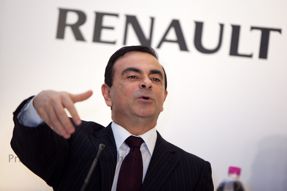 Carlos Ghosn, chief executive officer of Renault SA, speaks at a news conference in Chennai, India, on Tuesday, March 16, 2010. Photographer: Prashanth Vishwanathan/Bloomberg