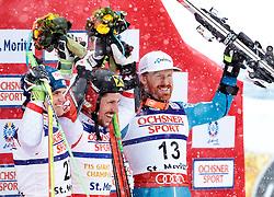 17.02.2017, St. Moritz, SUI, FIS Weltmeisterschaften Ski Alpin, St. Moritz 2017, Riesenslalom, Herren, Flower Zeremonie, im Bild v.l. Roland Leitinger (AUT, Herren Riesenslalom Silbermedaille), Marcel Hirscher (AUT, Herren Riesenslalom Weltmeister und Goldmedaille), Leif Kristian Haugen (NOR, Herren Riesenslalom Bronzemedaille) // f.l. men's Giant Slalom Silver medalist Roland Leitinger of Austria men's Giant Slalom world Champion and Gold medalist Marcel Hirscher of Austria men's Giant Slalom Bronze medalist Leif Kristian Haugen of Norway during the Flowers ceremony for the men's Giant Slalom of the FIS Ski World Championships 2017. St. Moritz, Switzerland on 2017/02/17. EXPA Pictures © 2017, PhotoCredit: EXPA/ Johann Groder