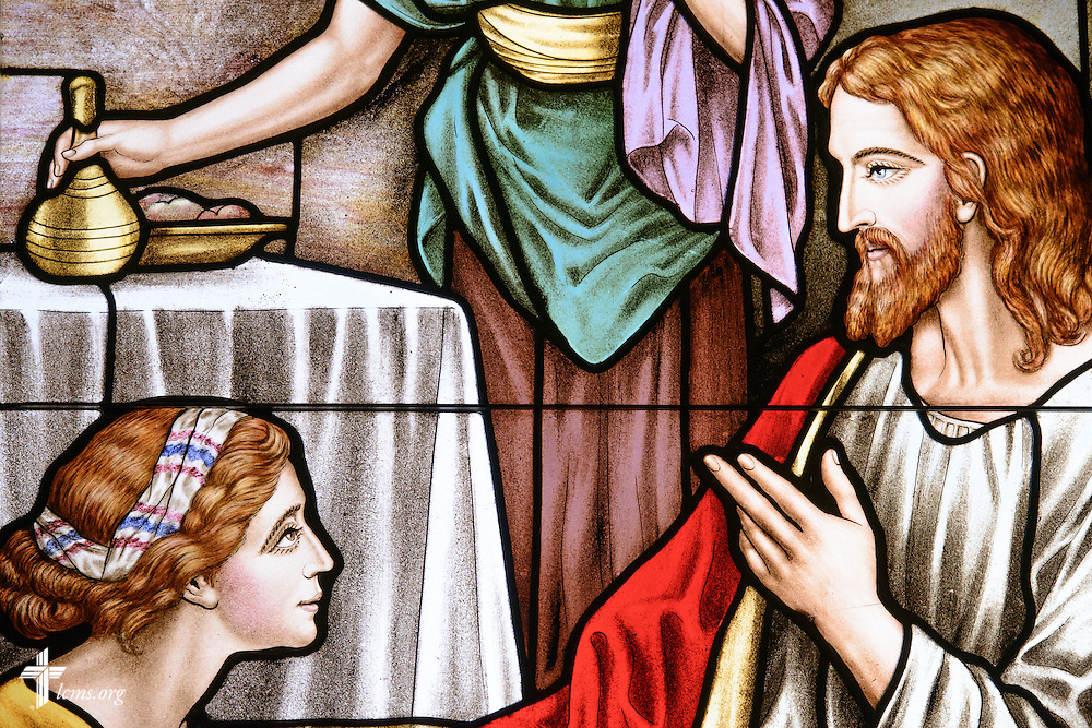 Stained glass of Jesus with women at St. John's Lutheran Church of Plymouth, Wis., on Friday, Jan. 29, 2016. LCMS Communications/Erik M. Lunsford