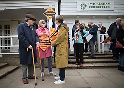 © Licensed to London News Pictures. 28/04/2017. London, UK. Rachel Smith (2L), wife of Liberal Democrat Vince Cable talks to supporters as he launches his election campaign from Twickenham Green.  Photo credit: Peter Macdiarmid/LNP