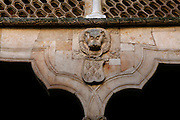 """Detail of carving in the Casa de las Conchas courtyard, Salamanca, Spain, pictured on December 18, 2010 at midday. The Casa de la Conchas, 15th century, was built as the palace of Rodrigo Maldonado, a knight of the Santiago Order (Order of St James), whose emblem is a shell. Adorning the walls of the palace are carvings of shells, hence the name. It is now a library. Salamanca, an important Spanish University city, is known as La Ciudad Dorada (""""The golden city"""") because of the unique golden colour of its Renaissance sandstone buildings. Founded in 1218 its University is still one of the most important in Spain. Around it the Old Town is a UNESCO World Heritage Site. Picture by Manuel Cohen"""