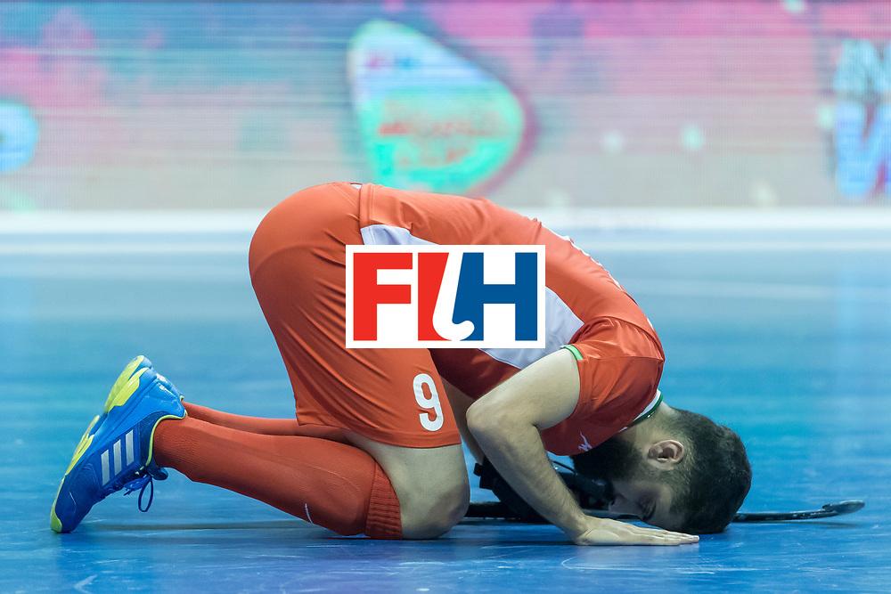 Hockey, Seizoen 2017-2018, 09-02-2018, Berlijn,  Max-Schmelling Halle, WK Zaalhockey 2018 MEN, Iran - Czech Republic 2-2 Iran Wins after shoutouts, Navid Taherirad after Iran reach the semi finals.