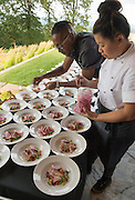 Chef Gregory Gourdet of Departures, and chef Mei Lin, Penner-Ash pre- IPNC Top Chef dinner, 2015, Willamette Valley, Oregon, Penner-Ash pre-IPNC Top Chef dinner, 2015, Willamette Valley, Oregon
