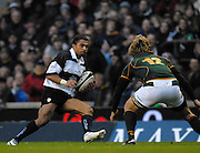 Twickenham, GREAT BRITAIN, Jason ROBINSON looks for a way round Boks No.12 Francios STEYN, during the, Gartmore Challenge -  Barbarians vs South Africa, rugby match at Twickenham Stadium, ENGLAND.  [Mandatory Credit Peter Spurrier/Intersport Images].