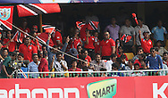 Trinidad fans celebrate during match 16 of the Karbonn Smart Champions League T20 (CLT20) 2013  between The Titans and Trinidad and Tobago held at the Sardar Patel Stadium, Ahmedabad on the 30th September 2013<br /> <br /> Photo by Ron Gaunt-CLT20-SPORTZPICS  <br /> <br /> Use of this image is subject to the terms and conditions as outlined by the CLT20. These terms can be found by following this link:<br /> <br /> http://sportzpics.photoshelter.com/image/I0000NmDchxxGVv4