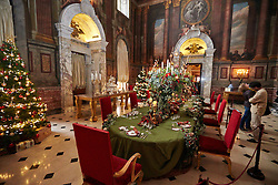 © Licensed to London News Pictures.  09/11/2013. WOODSTOCK, UK. The grand Saloon table at Blenheim Palace set for a  feast inspired by the classic  story A Christmas Carol during their Dickensian Christmas. The themed event opened to the public today (Sat 9th Nov) and runs until the 13th December.  Photo credit: Cliff Hide/LNP
