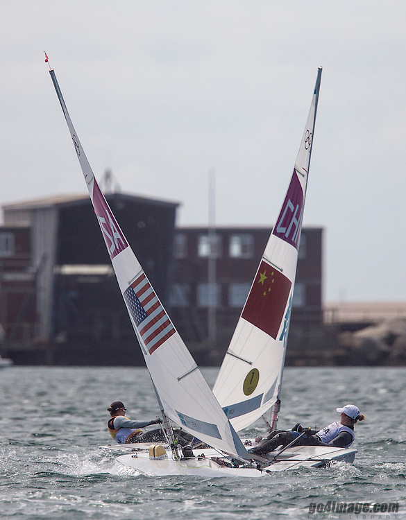 Xu Lijia, (CHN, Laser Radial)<br /> Railey Paige, (USA, Laser Radial)<br /> 2012 Olympic Games <br /> London / Weymouth